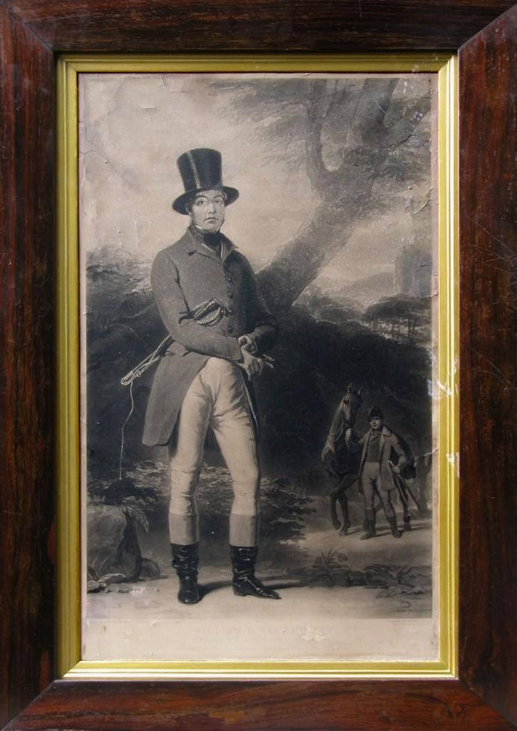 This is a print of an engraving made by Thomas Lupton in 1845 showing the dashing figure of William Ramsay of Barnton MP, skilled horseman, land owner and Conservative politician who gave his name to Barnton Street, Stirling.