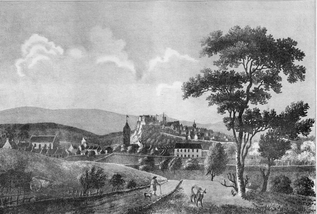 Etching of the view to Stirling from St Ninians  before 1746