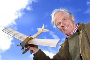 Barnwell Monoplane scale model with creator Dr Peter Griffiths