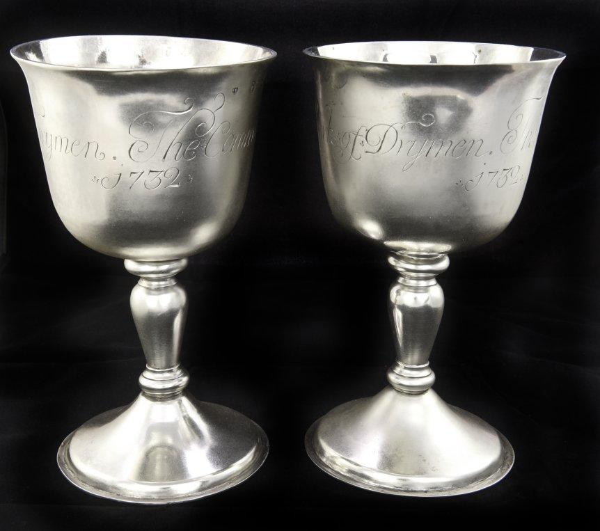 image shows two silver communion goblets inscribed 'The Communion Cups of the Kirk of Drymen 1732' made by johan Gottleif Bilsinds