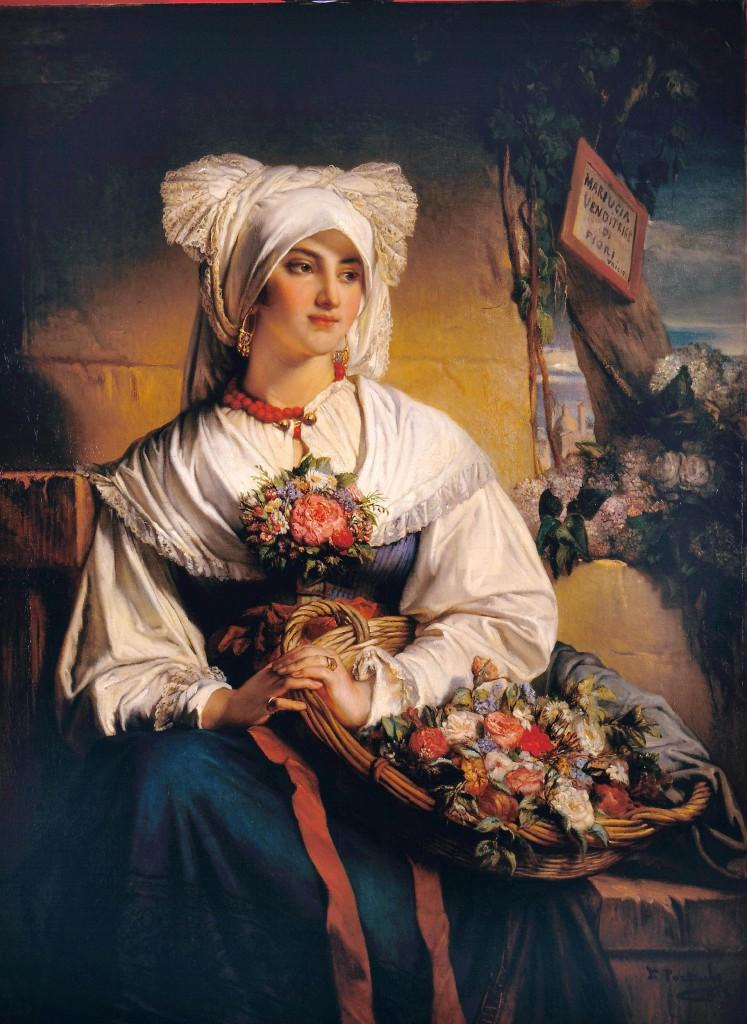A Triest Flower Girl, Jean François Portaels (1818 - 1895)