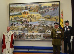 The artwork, Service will be on show in the Smith for 4 weeks, here it is welcomed by Stirling Provost Robbins, Maurice Walsh RLC, Harry McEwan RBLS Standard Flag Bearer