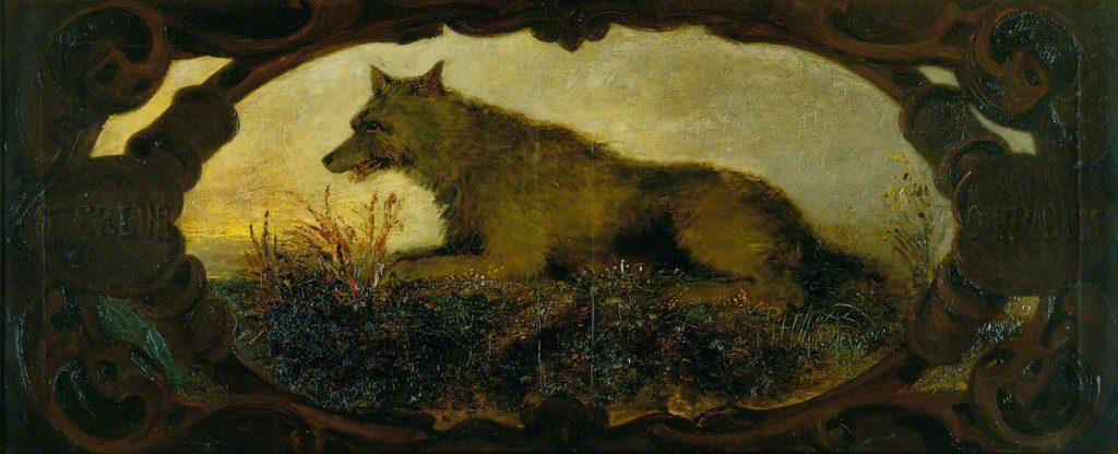 A wolf lies on a bed of wildflowers. An eleborate painted wood frame forms an oval shape around the wolf.